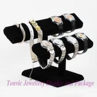 China High Quality Watch Bracelet Display Double Oval T-Bar Stand Velvet Black CF-330-2 wholesale