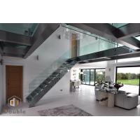 L Shape Modern Staircase with Glass Railing and Glass Step