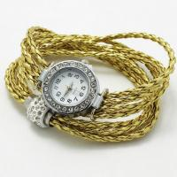 China gold watch with bracelet Gold Braided Watch Bracelet With Rhinestones Clasp Beads wholesale