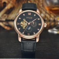 China custom automatic chinese mechanical movement leather mens watch wholesale