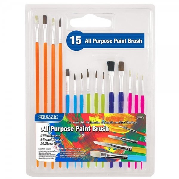Quality Arts & Crafts BAZIC Asst. Size Paint Brush Set (15/Pack) $ 4.99 for sale