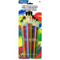 China Arts & Crafts BAZIC Asst. Size Paint Brush Set (12/Pack) $ 3.99 wholesale