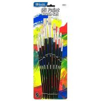 China Arts & Crafts BAZIC Asst. Size Oil Paint Brush Set (9/Pack) $ 3.99 wholesale