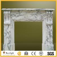 Culture Stone White Marble Stone Fireplace with Flower Carving for Indoor