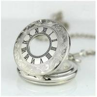 Alloy Skeleton Movement Silver Pocket Watches For Mens , Mans Pocket Watch