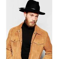 ASOS Leather Hat Band In Black And Silver Men N63s3546FD79