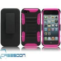 Hard Silicone HOLSTER KICKSTAND Case for Apple iPhone 5 5G