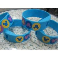 Four Color Printing Blue Silicone Wristband Digital Watches with Changeable Battery