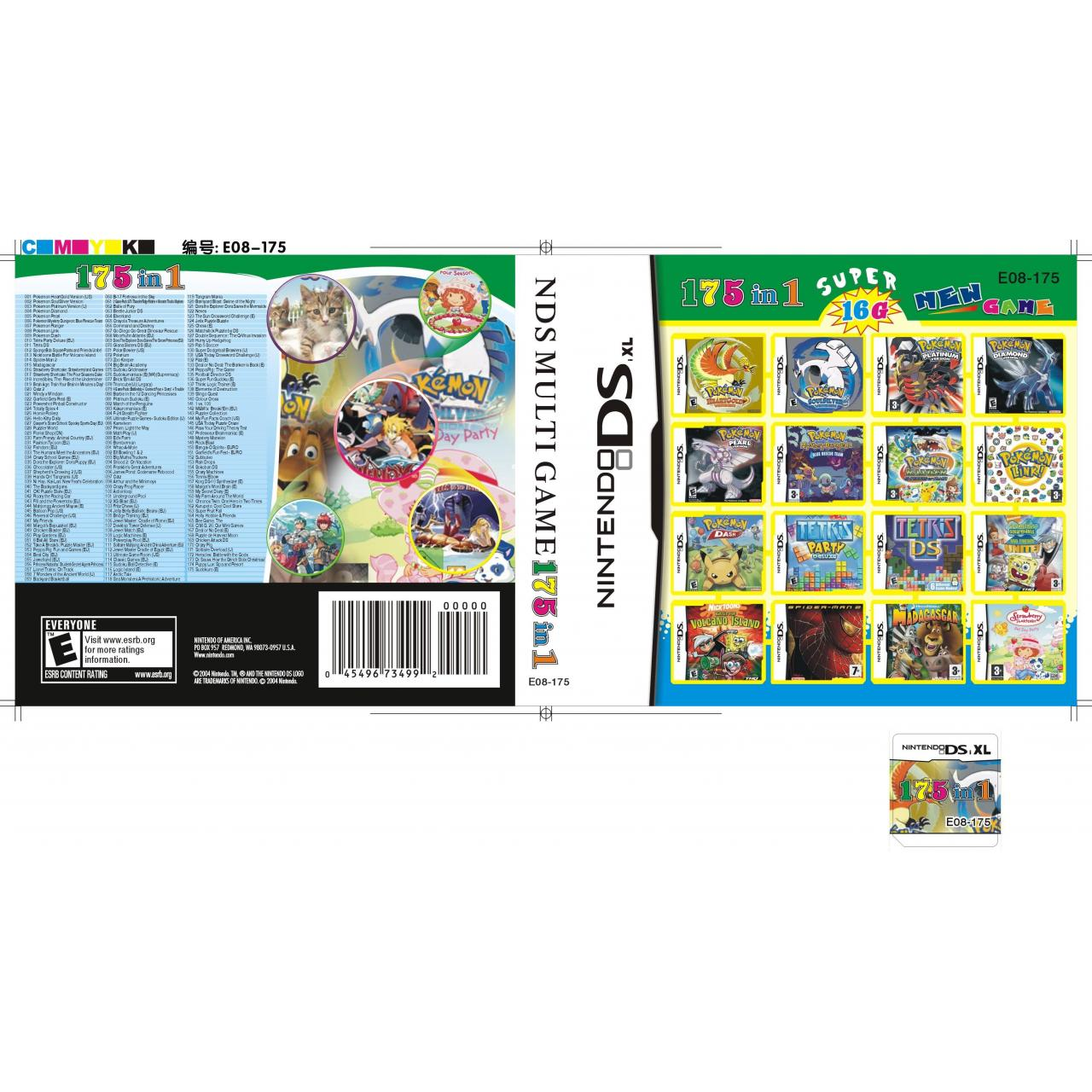 China DS Multi Game Card DSi XL/DSi/DS Lite/DS DSi Games Card 16GB (175 in 1) wholesale