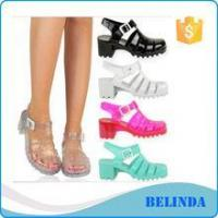 ladies latest style beautiful strap up Crystal jelly beach shoes