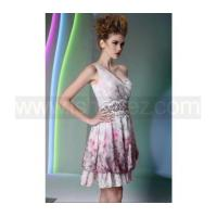 China A line one shoulder printed tencel cocktail dress wholesale