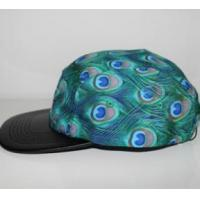 China 2016 fashion blue peacock feathers cotton and polyester camper cap wholesale