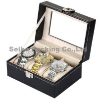 China Wholesale Black Letherette Watch Box 3 Grids with Pillows wholesale